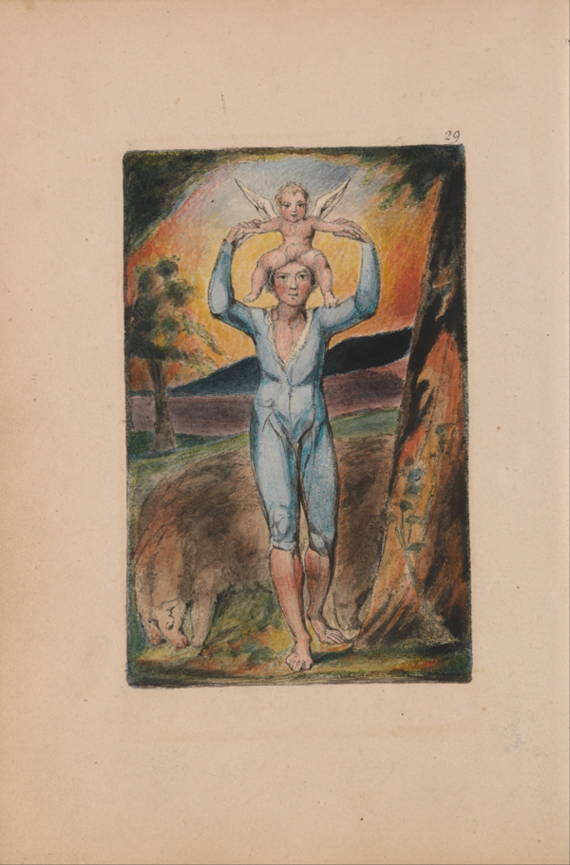 Photograph of Blake's handprinted and colored Frontispiece of Songs and Experience, showing a man with a winged cherub on his shoulders.