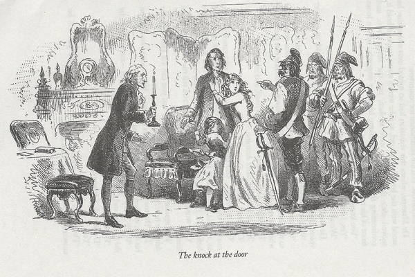 Original illustration from Tale of Two Cities showing family group being threatened by French republican soldiers.