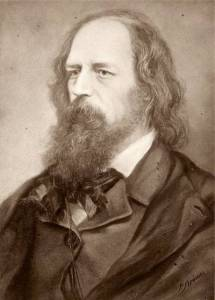 Engraving of portrait of Victorian gentleman with long flowing beard and hair, in waistcoat, jacket with wide lapels, and cravat.