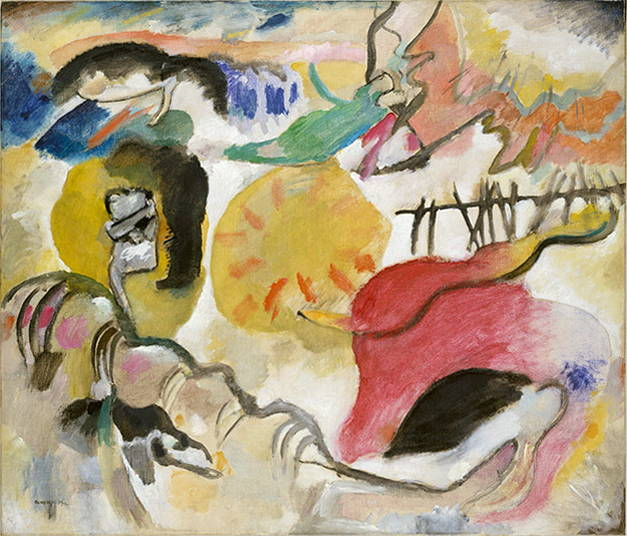 Kandinsky's abstract image in bright pinks, yellow, whites, and greens is a good parallel to the freer written forms of American Modernist literature.