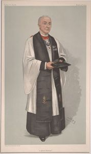 Colored Victorian drawing of Anglican clergyman, wearing white gown over longer black robe and a black surplice/scarf.