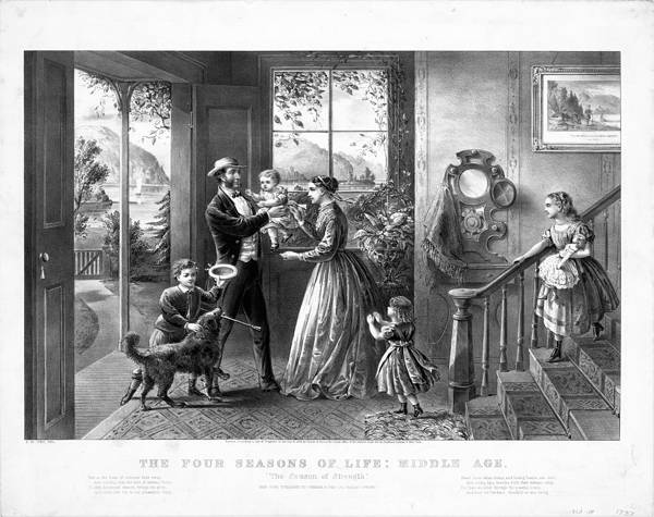 Engraving by Currier and Ives showing Victorian family in front hall of their house. Mother in center hands over baby to father at left. Bottom left, small boy with dog. On right, tiny girl at mother's skirt and bigger girl coming down staircase.