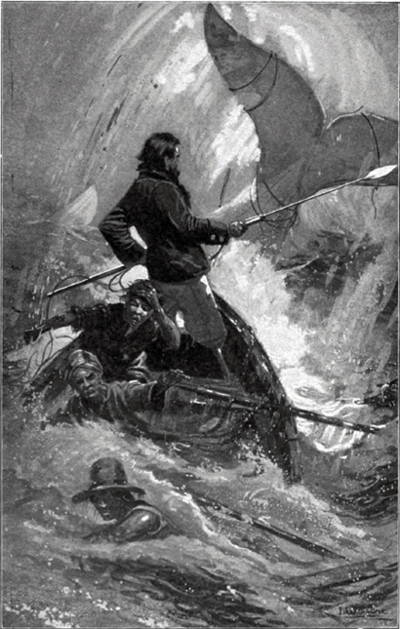 B & W illustration of final chase scene in Moby Dick, showing Ahab standing in prow of sinking boat thrusting harpoon toward upraised tail of the white whale.