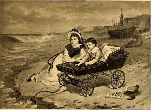 Old engraving in sepia tones showing young girl reclining on beach next to a very little boy in a pram: Florence and Paul Dombey from Dickens's novel.