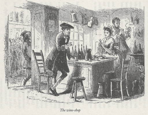 Engraving of book illustration for Dickens's Tale of Two Cities showing Defarge's Wine Shop with Madame Defarge knitting.
