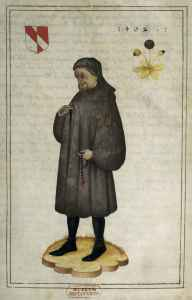 Full length portrait of Chaucer from Medieval book illustration, showing figure in brown robe and headdress against white background.