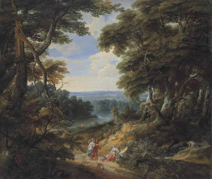 Beautiful landscape showing tall trees on either side, a brown dirt road with small figures, and a bluish hillside in distance with a tiny castle, painted during the era English Renaissance literature was written.