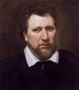 Painting: head of dramatist and poet Ben Jonson, late English Renaissance literature, broad face with close-cropped dark hair and beard.