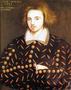 Three-Quarter painting of young man in black and gold Renaissance garb thought to be Christopher Marlowe.