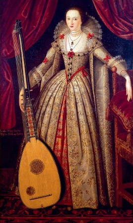 Full length painting of elaborately dressed woman from same era as English Renaissance Era, holding an instrument resembling a very large lute.