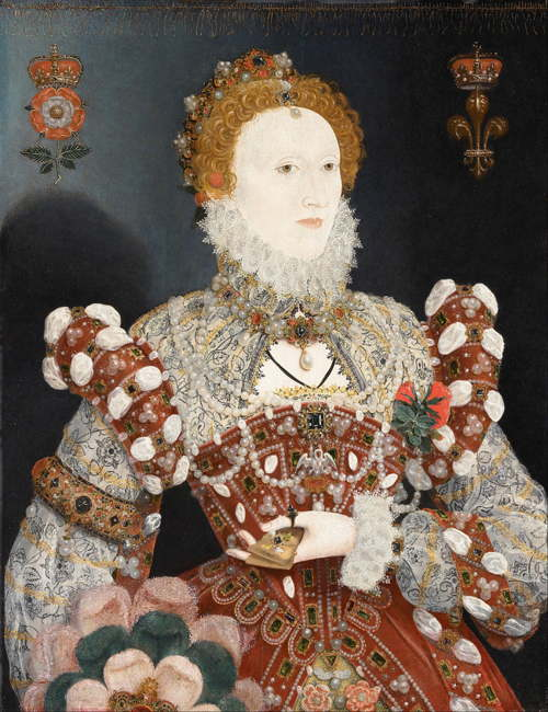 Painting of Queen Elizabeth shows her from the waist up, reddish hair in elaborate close waves, wearing elaborate Elizabethan gown with lace, gold, pearls, and gems.