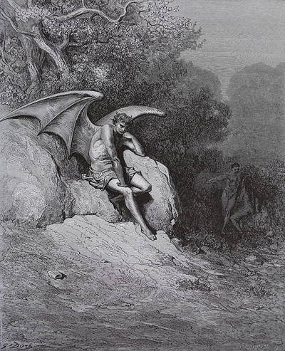 B & W engraving of Late Victorian illustration of Paradise Lost by Gustave Doré shows a brooding winged Satan planning Eve's downfall.