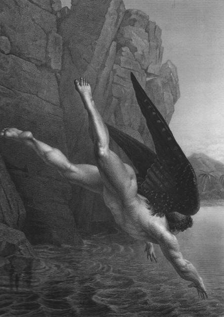 B & W engraving showing nude and winged Satan plunging from Heaven, a moment of intense drama like those in Milton's Paradise Lost.