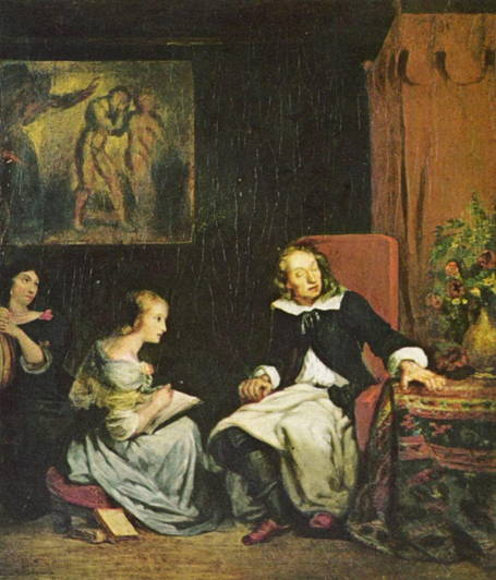 Painting showing a blind Milton dictating Paradise Lost to his daughters.