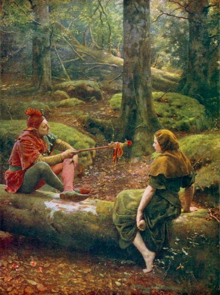 Painting of scene from As You Like It--Jester Touchstone talks to country lass Audrey in Arden forest.