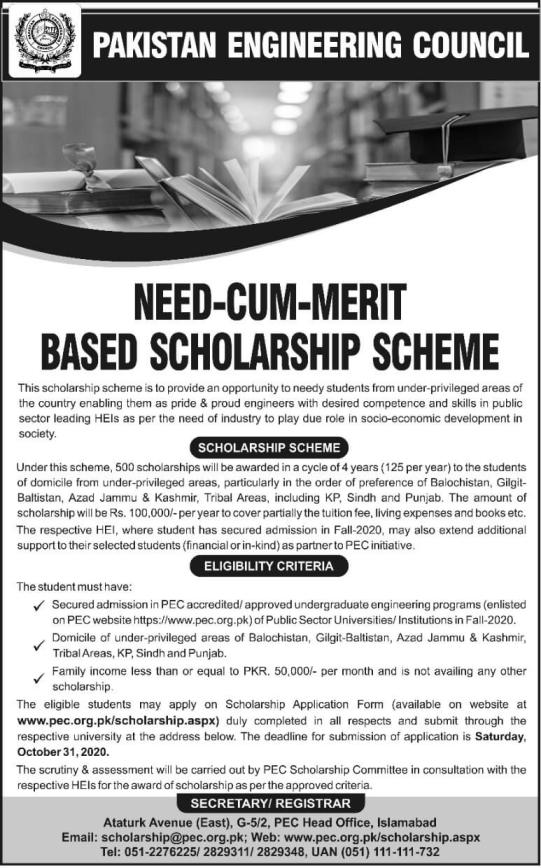 PEC Pakistan Engineering Council Scholarship 2020 Application Form Eligibility Criteria