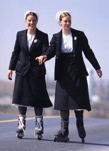 Amish Girls on Roller Skates