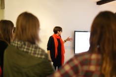 Curator Dr Alice Bell with Dan Waber's Strings (Lucy Asprey www.everthinephoto.com)