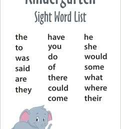 Kindergarten Sight Words - FREE Printable - Reading Elephant [ 3512 x 2483 Pixel ]
