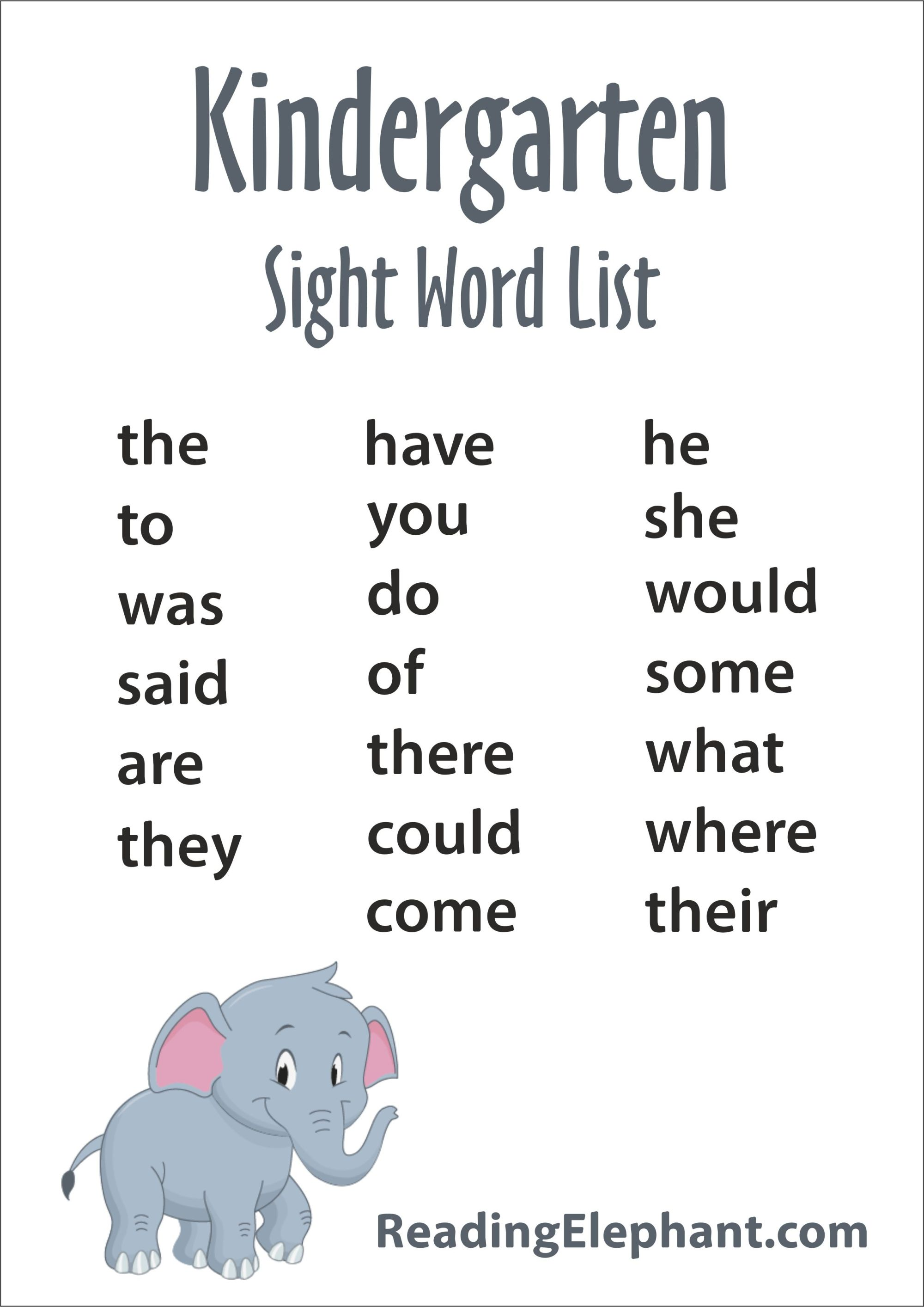 hight resolution of Kindergarten Sight Words - FREE Printable - Reading Elephant