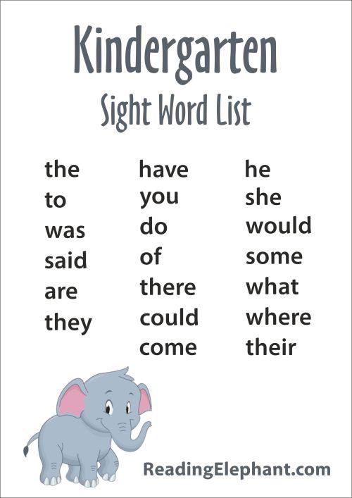 small resolution of Kindergarten Sight Words - FREE Printable - Reading Elephant
