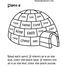 Silent e Worksheets pdf (Igloo Fun!) - Reading Elephant [ 1024 x 899 Pixel ]