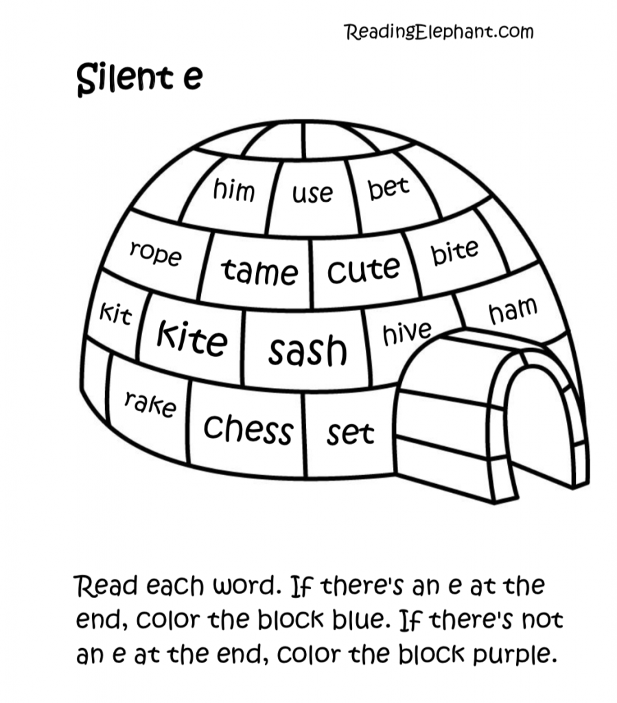 hight resolution of Silent e Worksheets pdf (Igloo Fun!) - Reading Elephant