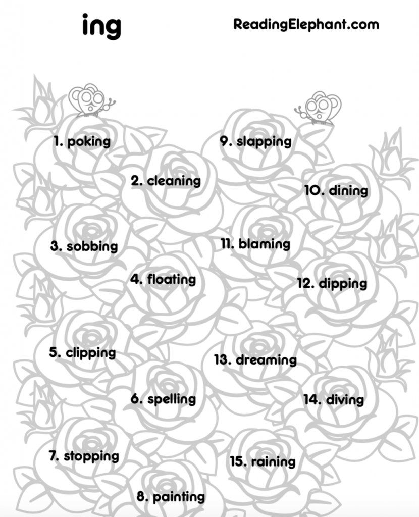 medium resolution of ing Worksheets to Practice Inflectional Endings - Reading Elephant