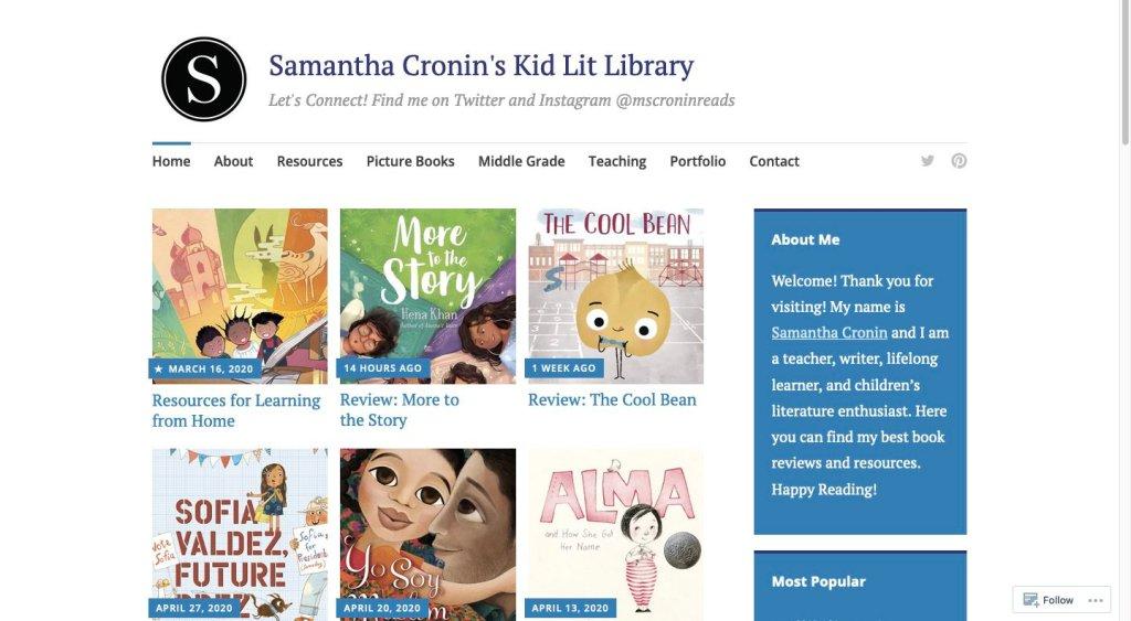 Samantha Cronin's Kid Lit Library - best kid lit blogs