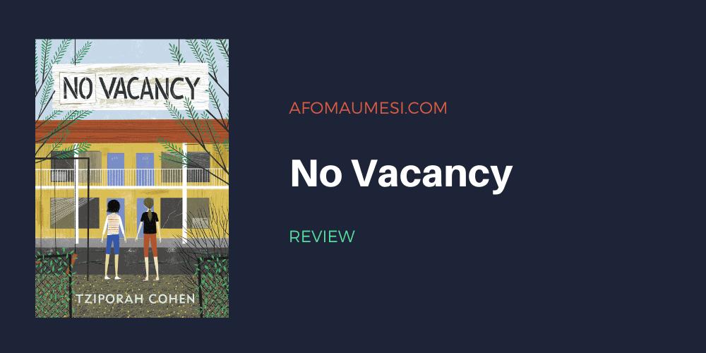 no vacancy - tziporah cohen book review
