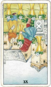 rider-waite tarot six cups card reversed