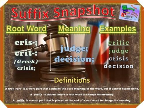 cris-; crit-; Prefix Snapshot