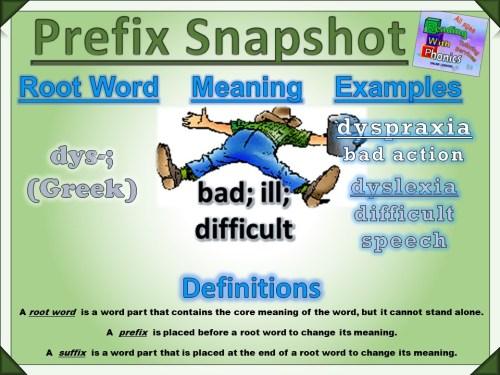 dys- Prefix Snapshot