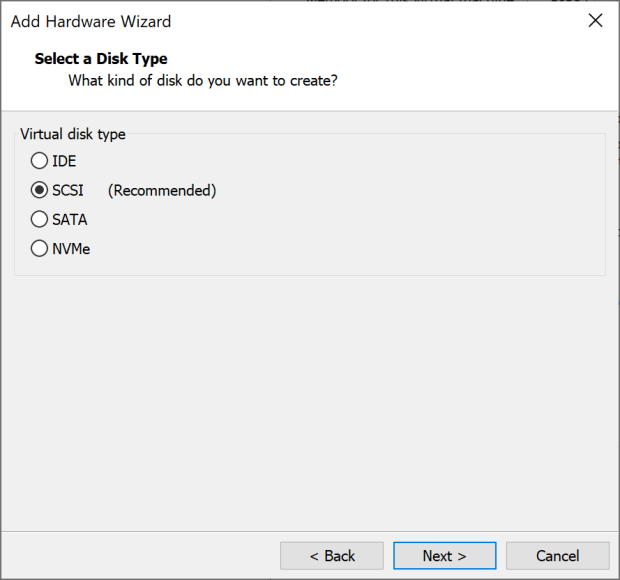 Select the disk type