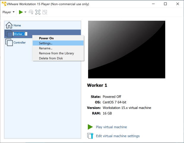 Change settings for the virtual machine