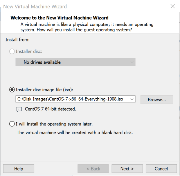 Select a disc image file