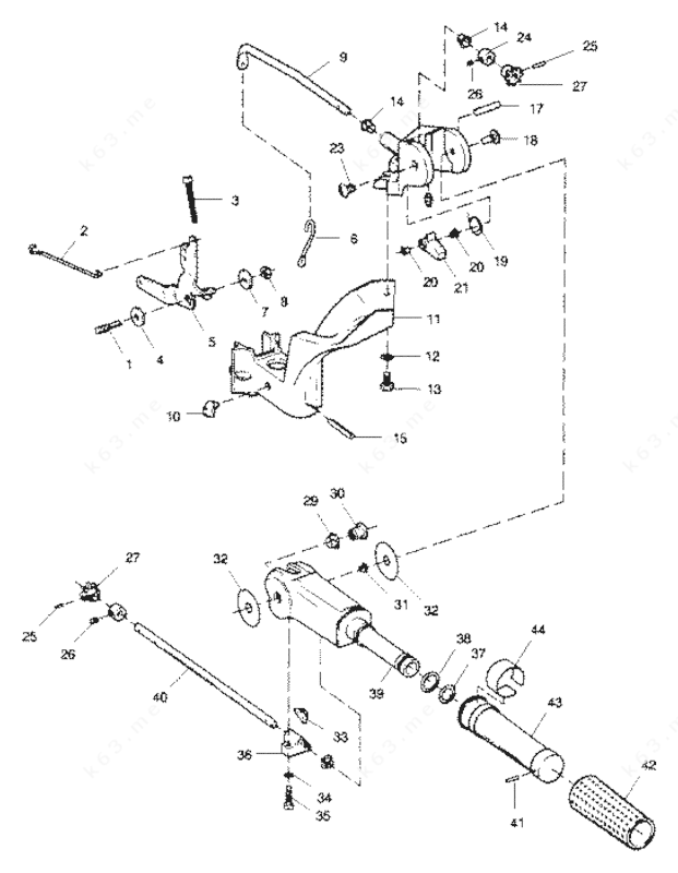 Sears 9.9 H.P. 1989, Tiller Handle and Throttle Linkage