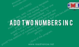 add two numbers in c