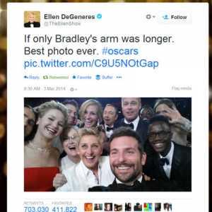 Ellen twitter selfie at Oscars 2014