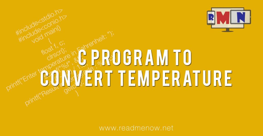 C program to convert temperature from Fahrenheit to Centigrade