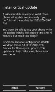 install a critical update