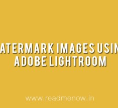 Watermark Images using Adobe Lightroom