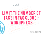 Limit number of tags in Tag Cloud Widget – WordPress
