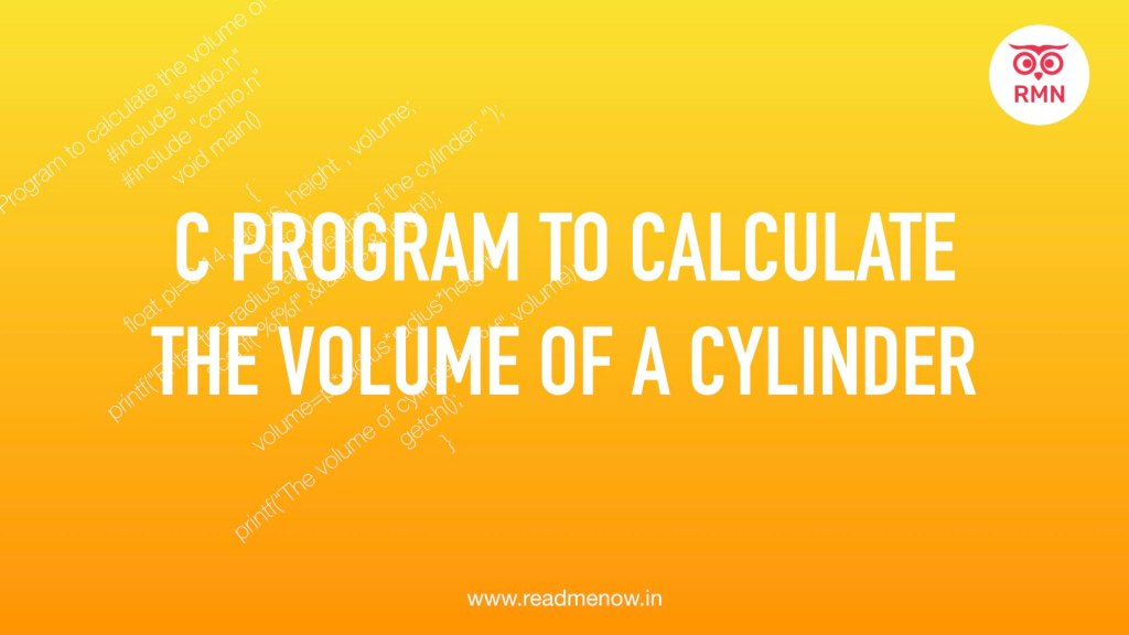 c program to calulate the volume of cylinder