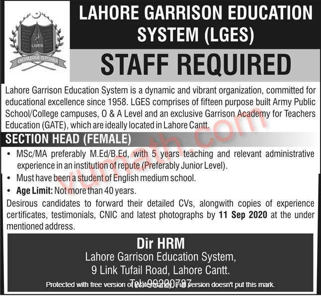 Lahore Garrison Education System (LGES) Jobs August 2020