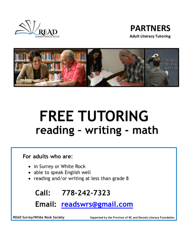 Free Remote Tutoring for Adults. Call 778-242-7323 for information.