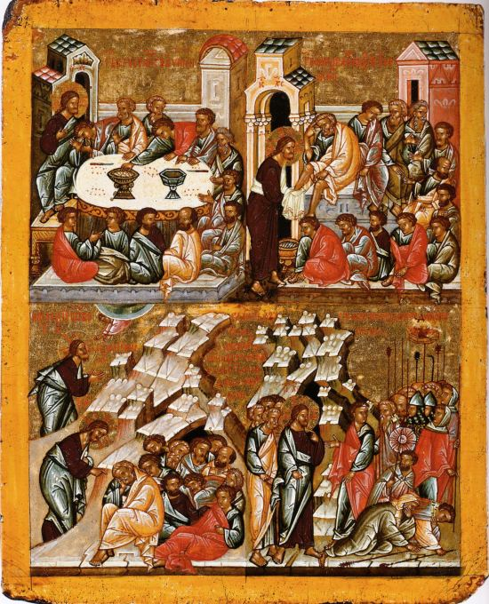 Fifteenth century Russian icon of the events of Maundy Thursday