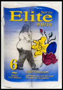 'Elite White' by Bernie Slater, 2008. Black pen on toilet paper packet.