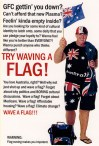 'Flag waving' postcard by Bernie Slater, 2010.