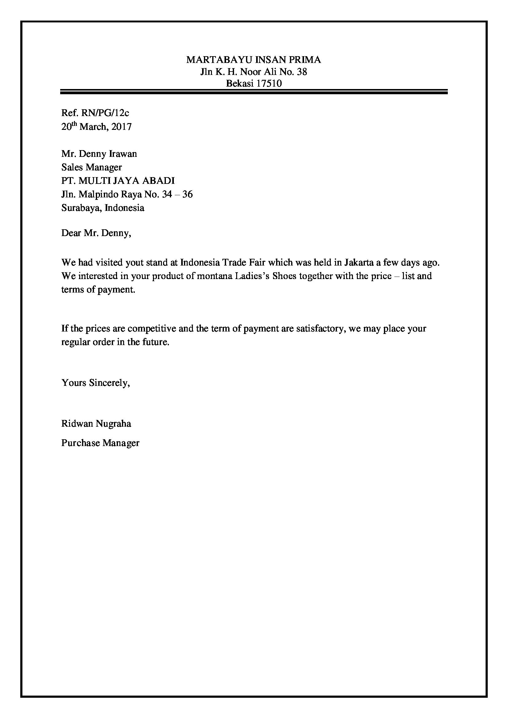 Contoh Surat Full Block Style Pesanan Barang - Kumpulan